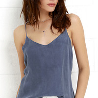Shady Oasis Washed Blue Tank Top