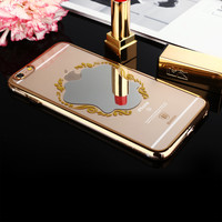 for iPhone 6s Plus Case Baseus Lady Girl Woman Cute PC Hard Back Cover Shell for Apple iPhone 6 Plus 5.5 Inch Mirror Make up