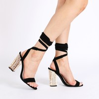 Casey Ornate Heel Lace Ups in Black Faux Suede