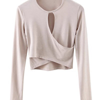 Beige Wrap Front Long Sleeve T-shirt