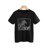 Tops and Tees T-Shirt ROMWE Graphic Print Loose T Shirt Women Black Round Neck Short Sleeve Korean Summer  2018 Fashion Ulzzang Tee Shirt AT_60_4 AT_60_4