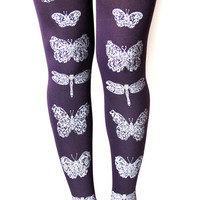 Butterflies and Dragonflies Printed Tights Medium Tall Amethyst Purple and Black Women Butterfly Dragonfly Print