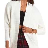 Open Front Ribbed Cardigan by Charlotte Russe