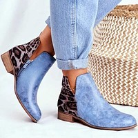 Boots Fashion Casual Boots Suede Leather Zipper Ankle Boots Square Heel Zipper Motorcycle Boots