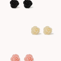 FOREVER 21 Lacquered Rose Stud Set