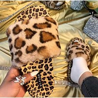 Summer fashion European and American black and white pattern leopard print fur slippers flat bottom