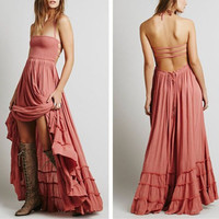 """Boho Maxi Dress Wood Rose Pink """"Extratropical"""" Halter Gown Size Medium Long Strappy Backless Gauze Gypsy Dress Smocked Front Adjustable Waist Triple Tiered Hem"""