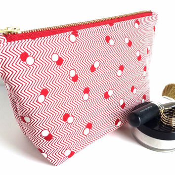 Large Makeup Bag, Large Zipper Pouch, Large Cosmetic Case, Chevron Makeup Bag, Red Makeup Bag, Red and White Bag, Red Zipper Pouch