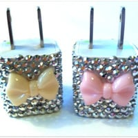 3D Bling Bow Phone Charger for iPhone 3 4 5 iPad iTouch Samsung Droid Blackberry Motorola HTC bling pink bow cute