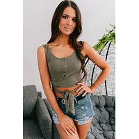 Summer Fave Wrap Button Up Crop Top (Olive)