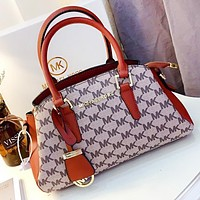 MK New fashion more letter canvas leather shopping leisure shoulder bag crossbody bag handbag Brown