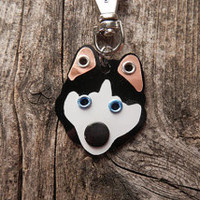 Keychain ID Key Chain Tag Siberian Husky Huskie Dog Breed Dog Pet Lover Copper Aluminum Custom Rivets Stamped