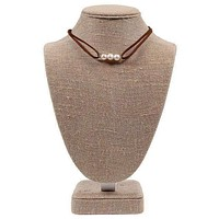 Pearl Leather Choker in Light Brown by Country Club Prep