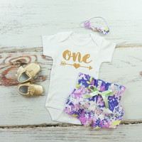 Baby Girls 1st Birthday Outfit | Purple Flowers High Waisted Bloomers Outfit with Gold One with Arrow