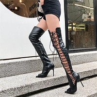 Laces Out Stiletto High Boots
