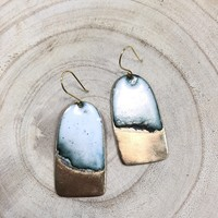 Brass + Enamel Tab Earrings