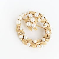 Classic Designer Signed Crown Trifari Gold Tone Leaves and Simulated Pearls Brooch, Vintage 1960s 1970s Wreath Pin