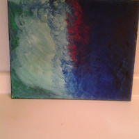 "Orginal Abstract Art Acrylic Painting Handmade On Wrapped Canvas w/Wood Framing ""The Blue Sea"" 16x20"""