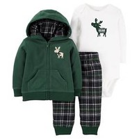 Baby Boys' 3-Piece Fleece Cardigan Set Green Hooded Moose - Just One You™Made by Carter's®