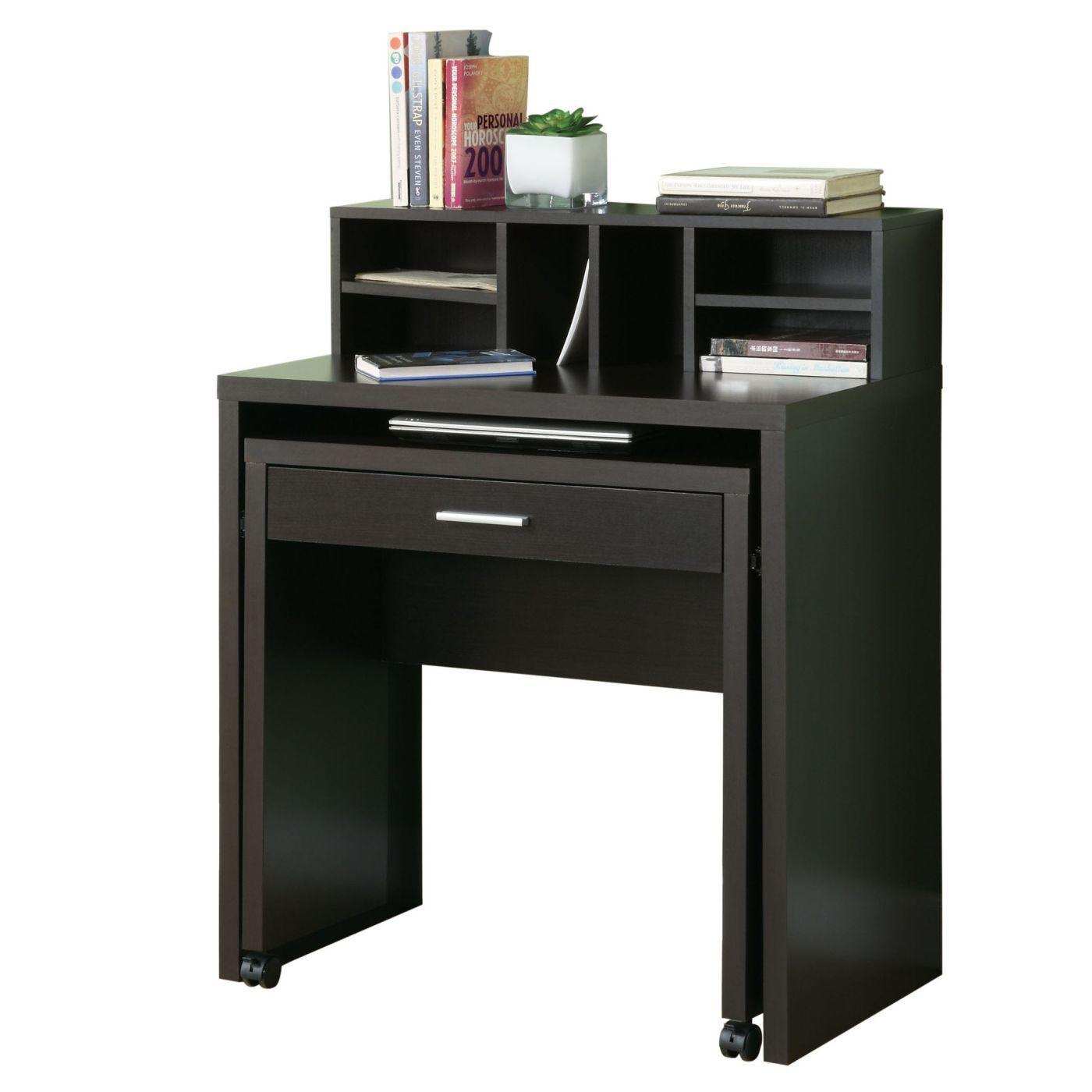 Image of Cappuccino Hollow-Core Spacesaver Desk With Open Storage