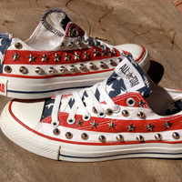Stars and Stripes - Studded Converse - Rare Converse - American Flag