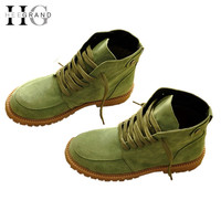 Ankle High Lace-Up Round Toe Square Flat Heels Women's Winter Boots