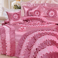 DaDa Bedding Rose Queen Satin Comforter Set Victorian Cal. King, Pink