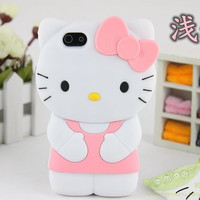 New 2016 fashion 3D Soft Silicon hellokitty Case For iPhone 4 4s 5 5s 5G 6 6s plus 4.7 5.5 cute Bowknot Hello kitty rubber cover