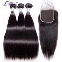 LEMODA Straight Hair Bundles With Closure 4/3 Peruvian Hair Bundles Human Hair Bundles With Closure Remy Hair Extensions