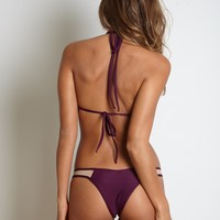 Kai Lani Swimwear Mesh Bottom in Merlot- Medium- Final Sale