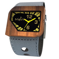Mistura Avanti Wooden Unisex Watch Yellow-Neon Dial Grey Leather Strap