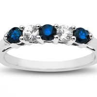 3/4 ct Blue & White Sapphire Ring - z2520sawsw-y
