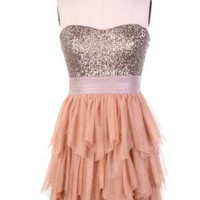 Multi Party Dress - Strapless Ruffle Dress with Sequin | UsTrendy
