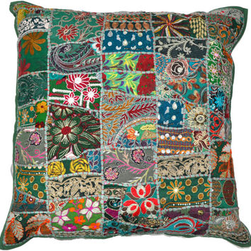 24X24 XL green pillows, decorative green pillows, Indian ethnic pillow for couch, gypsy pillow, Meditation Cushion, Outdoor Cottage Pillow