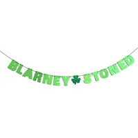 BLARNEY STONED Glitter Banner Sign Wall Decor - Sparkly Neon Green - St Patrick's Day Decorations - More colors available