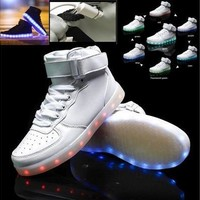 Latest Fashion USB Charge LED lighted High Top Leather Shoes Sneakers / Simulation 7 Colors Noctilucence Shoes / Colorful Nightclub Hip-hop Outdoor Sports shoes / Rainbow Fluorescence Light Casual Shoes [8834059724]