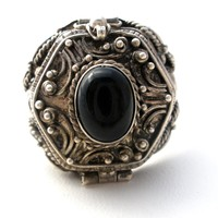 Sterling Silver Poison Ring Black Onyx Size 7.75