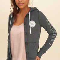 Girls Button-Front Graphic Hoodie | Girls Tops | HollisterCo.com