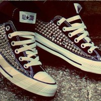 DCCK8NT custom spike studded converse shoes one sided shoes