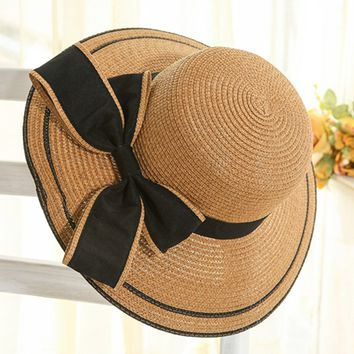 Casual Bowknot Straw Beach Hat