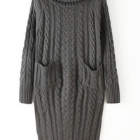Grey Turtleneck Knit Pockets Long Sleeve Sweater Dress