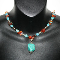 Beautiful Turquoise, Amber and Coral bead Necklace