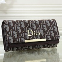 Dior Women Fashion Print Leather Purse Wallet