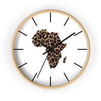 Animal Print Map Of Africa Wall clock
