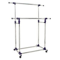 Rack Rolling Garment Clothing Double Bar Commercial Rail Display Duty Clothes