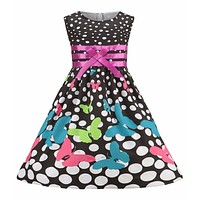 Girls Dress Navy Blue Butterfly Party Princess