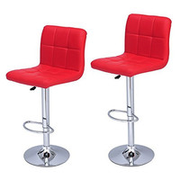 Furnistar Bright Red Leatherette Faux Tufted Adjustable Barstool Chair Chrome Finish Pedestal Base (Set of two)