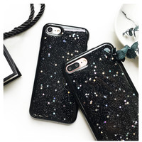 Tide Glitter Bling Star Case For iPhone 7 Case For iPhone7 6 6S PLus Luxury Starry Sky Soft TPU Love Back Cover  -0316