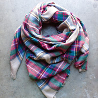 cozy plaid blanket scarf
