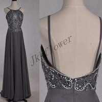 Long Gray Backless Prom Dresses,Beaded Crystal Evening Dresses,Chiffon Party Dresses,Ball Grown Bridesmaid Dresses,Homecoming Dresses